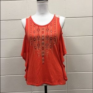 Miss Me Embellished Tank Top Orange High Low Small